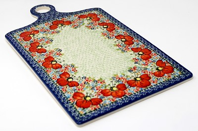 Extra Large Cutting Board in Unikat Polish Pottery from Zaklady Garden Meadow Pattern