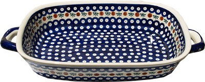 Polish Pottery Baking Dish with Handles