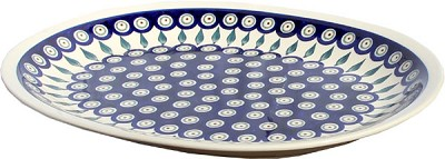 Polish Pottery Large Serving Platter, Classic Design Peacock
