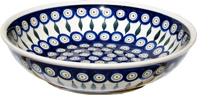 Polish Pottery Bowl 10 Inch, Classic Design Peacock