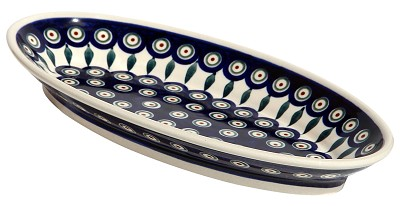 Polish Pottery Medium Oval Serving Dish, Classic Design Peacock