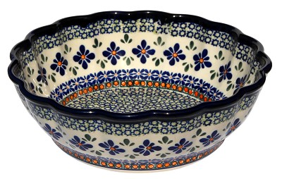 Polish Pottery Scalloped Bowl, Unikat Design DU60